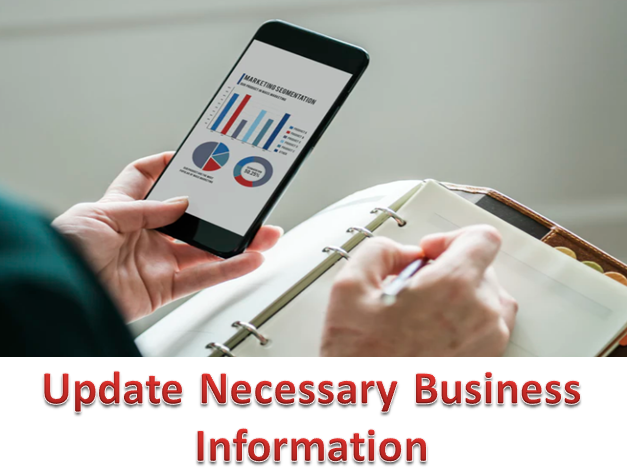 Update all necessary business information on website pages.